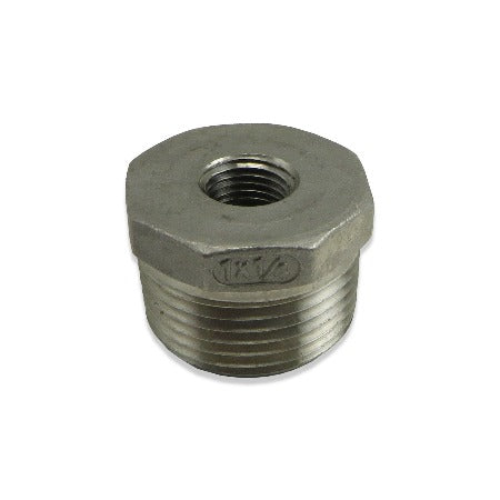 "Stainless Steel Reducer Bushing - 1"" MPT to 1/4"" FPT"
