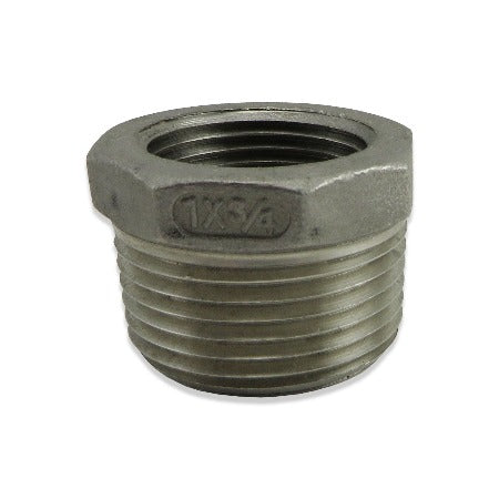 "Stainless Steel Reducer - 1"" MPT to 3/4"" FPT"