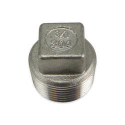 "Stainless Steel Square Head Plug - 3/4"" MPT"