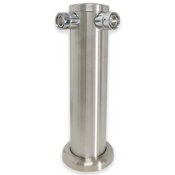 Brushed Stainless Steel Double Tap Beer Tower - Canadian Homebrewing Supplier - Free Shipping - Canuck Homebrew Supply