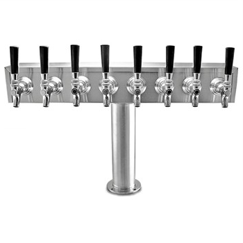 "Taprite Stainless Steel 8 Faucet ""T"" Beer Tower with Glycol Lines"