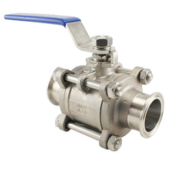 "Stainless Steel Tri-Clover Premium 3 Piece Ball Valve – 2"" TC"