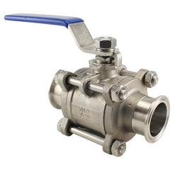 "Stainless Steel Tri-Clover 3 Piece Ball Valve – 2"" TC"