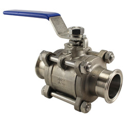 Stainless Steel Tri-Clover Fancy 3 Piece Ball Valve - Canadian Homebrewing Supplier - Free Shipping - Canuck Homebrew Supply