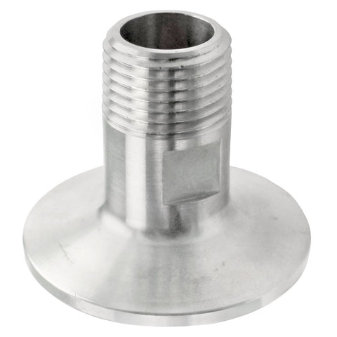 "Stainless Steel Tri-Clover Fitting - 1.5"" TC to 1/2"" Male NPT"