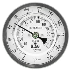"Mash King Stainless Steel Thermometer with 3"" Face Diameter & 6"" Stem"