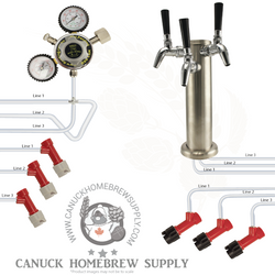 Pin Lock Triple Beer Tower Kegerator Kit