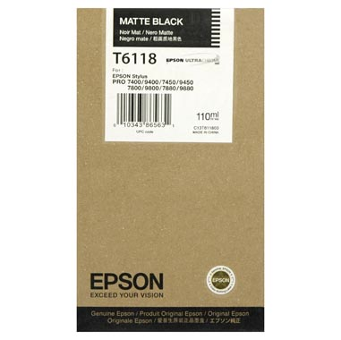 Epson Matte Black Ultrachrome K3 Ink Cartridge - 110 ml - T611800