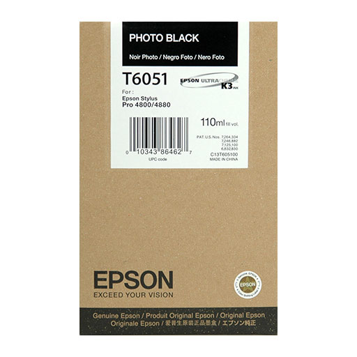 Epson Photo Black Ultrachrome K3 Ink Cartridge - 110 ml - T605100