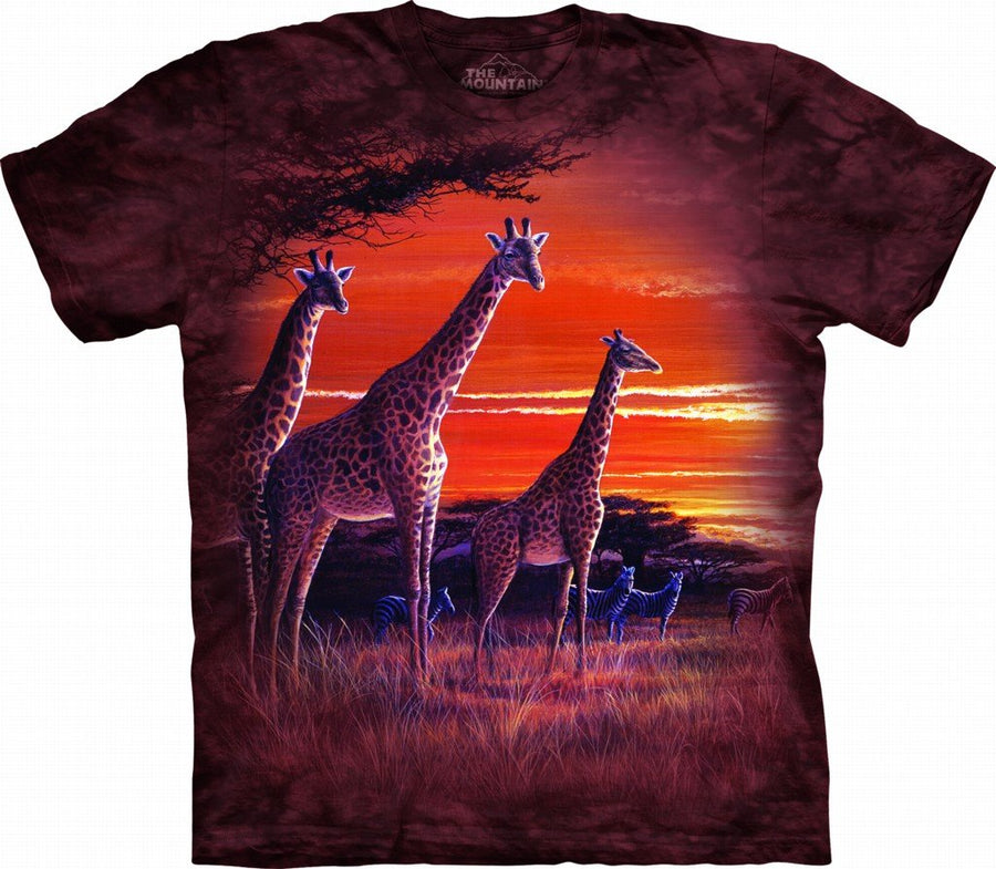 9f757062b SUNDOWN 5X Cotton Giraffes T-Shirt Brown Adult Men's Women's Short Sleeve T- Shirt