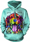 DOG IS LOVE Dogs Hooded Sweatshirt Blue Adult Men's Women's Long Sleeve Hooded Sweatshirt