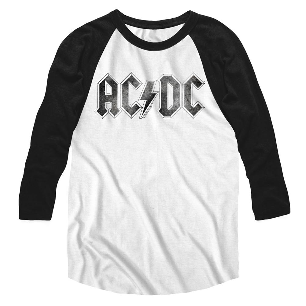 e156b859 ACDC LOGODISTRESS Raglan T-shirt White/Black Adult Men's Unisex Long Sleeve  Raglan T