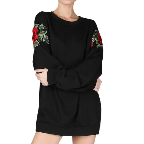 Clothing - Rose Embroidered Sweatshirt