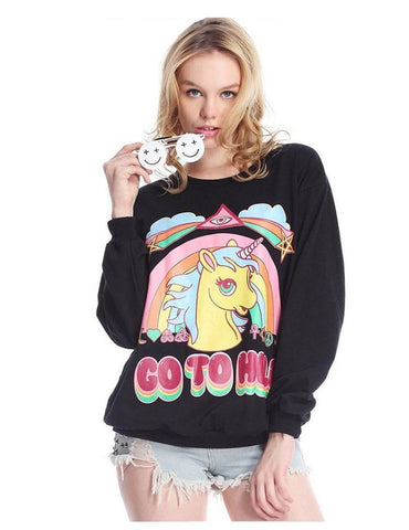 Clothing - Unicorn Sweatshirt GO TO HELL