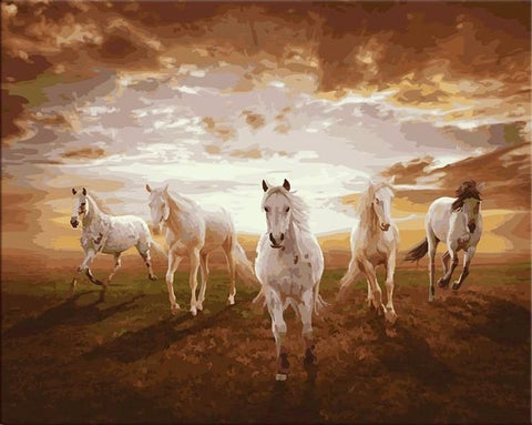 Paint By Number - Running Horses - 123Art™ - Paint By Number Kit