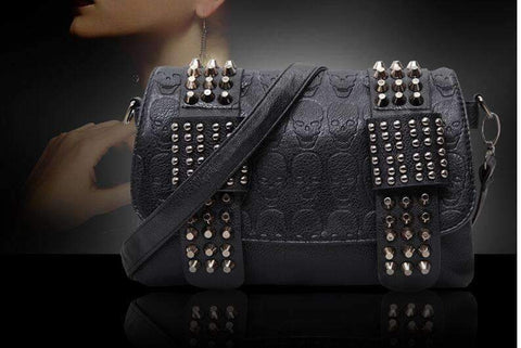 Wallet Purses - Skull Studded Handbag REBEL