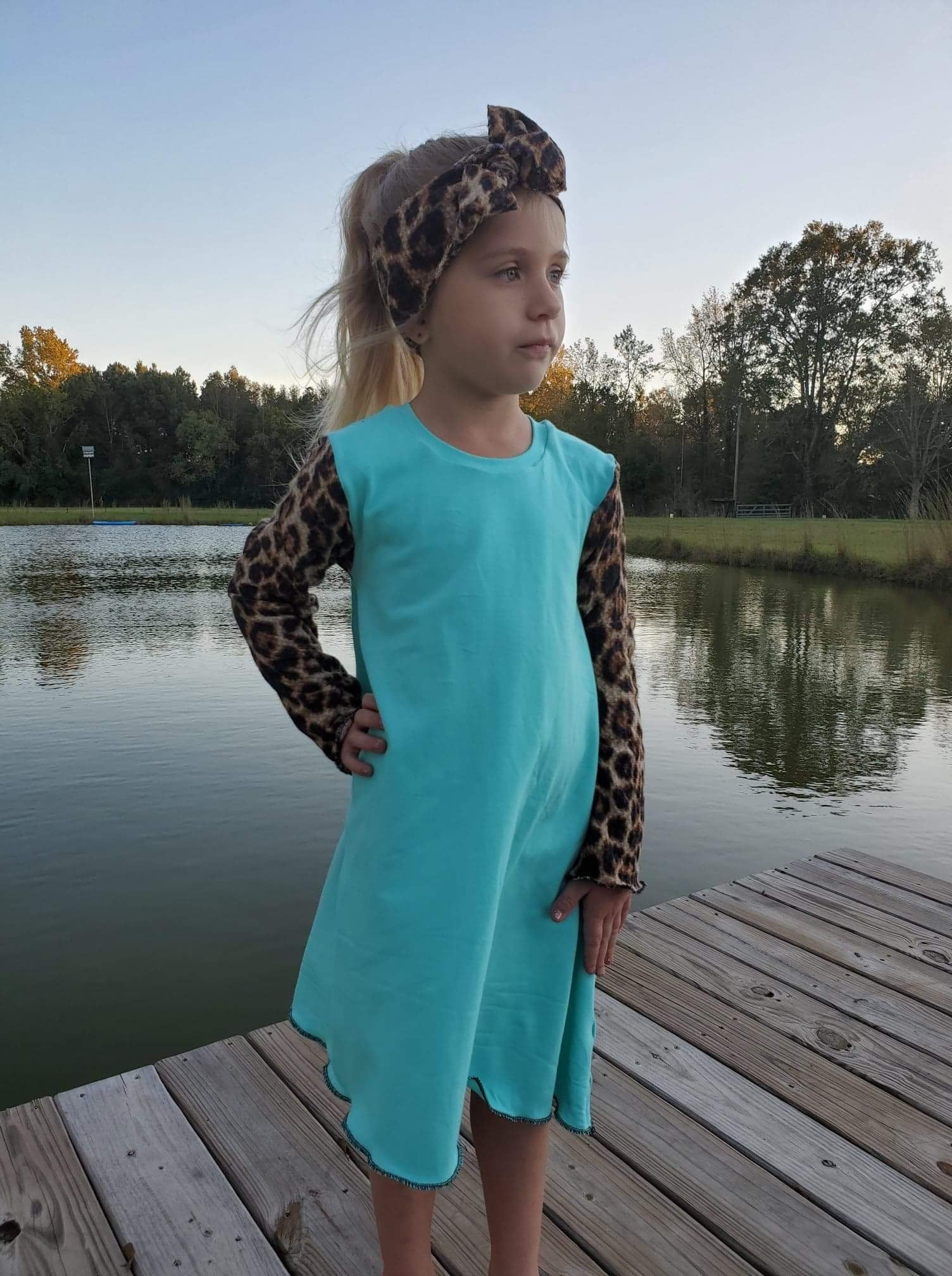 Waffle Hi-Lo Tiffany Blue Dress RTS