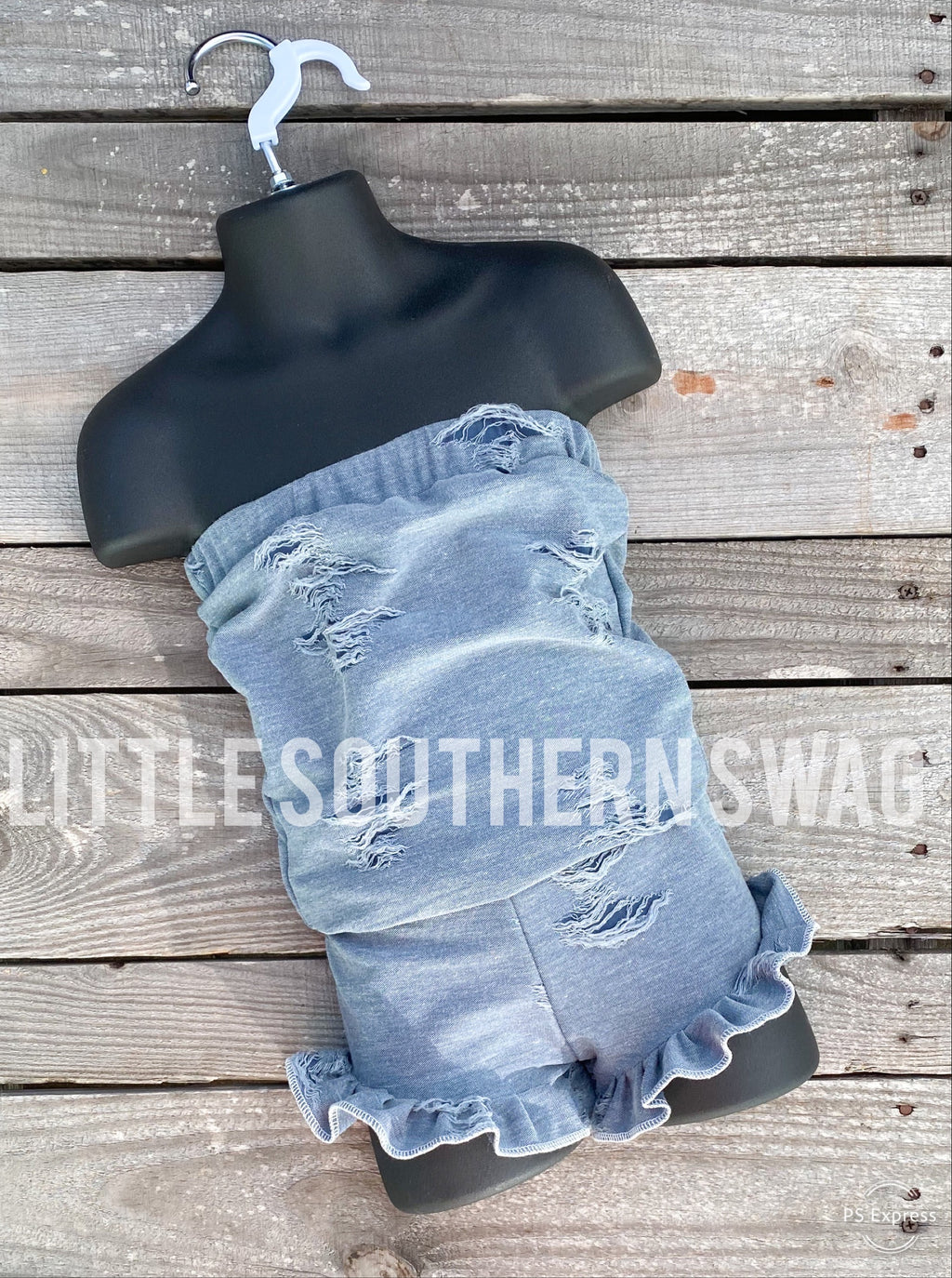 Distressed Blue Jean Cinch Romper