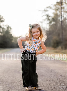 Georgia Oranges Belted Romper - Little Southern Swag