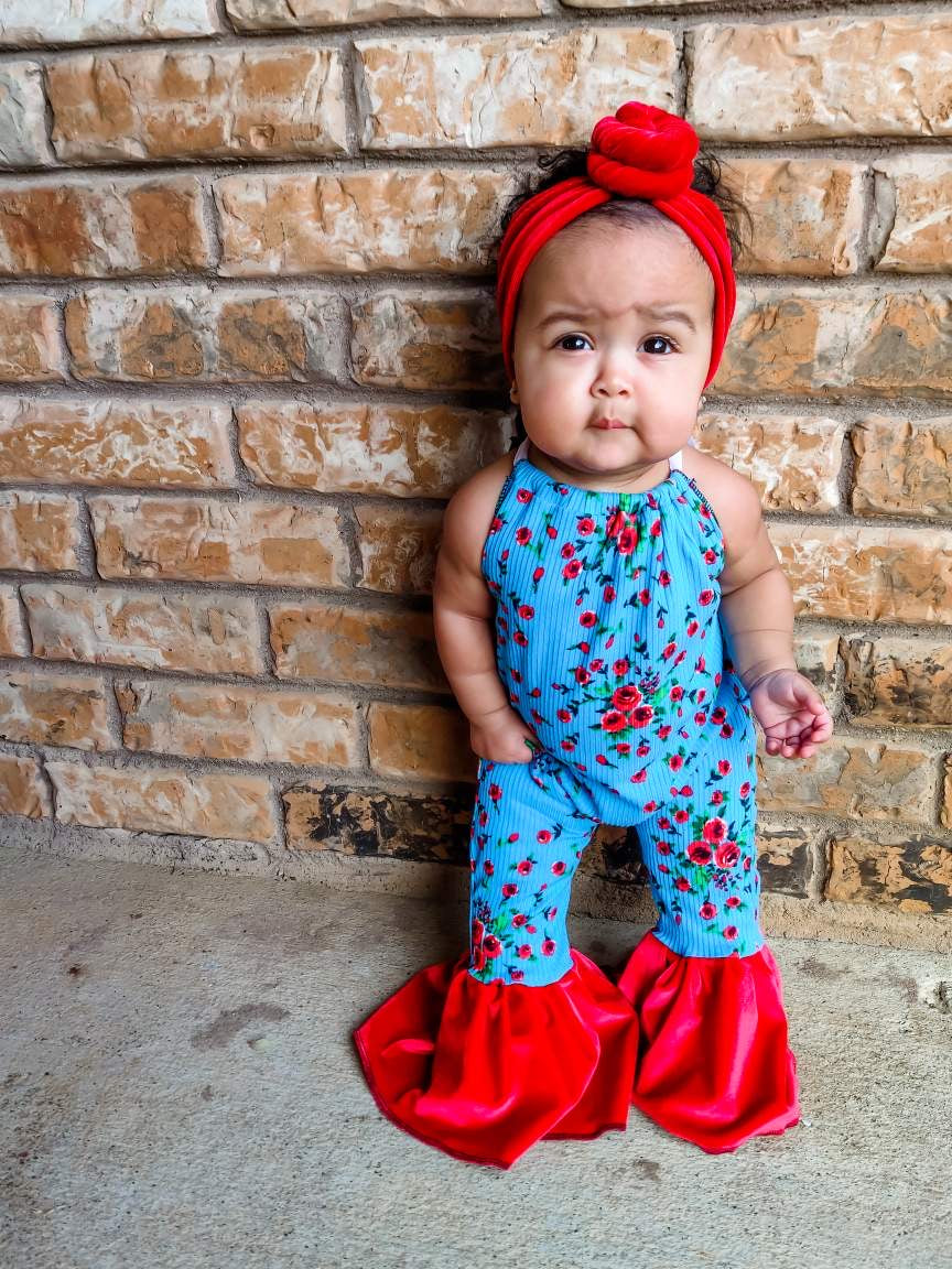 Ribbed Roses Rompers
