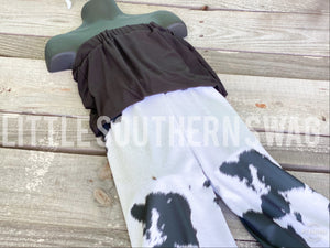 Black Cowhide Cinch Romper