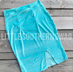 Tiffany Blue Velvet NFR Line Pencil Skirt