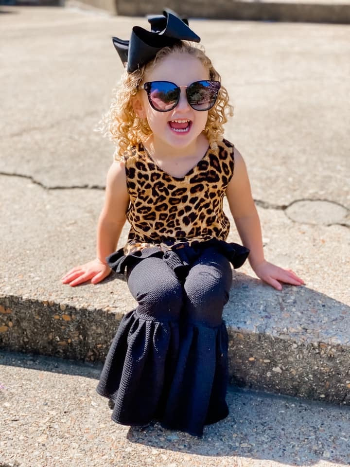 Leopard Again Ruffled Crop - Little Southern Swag