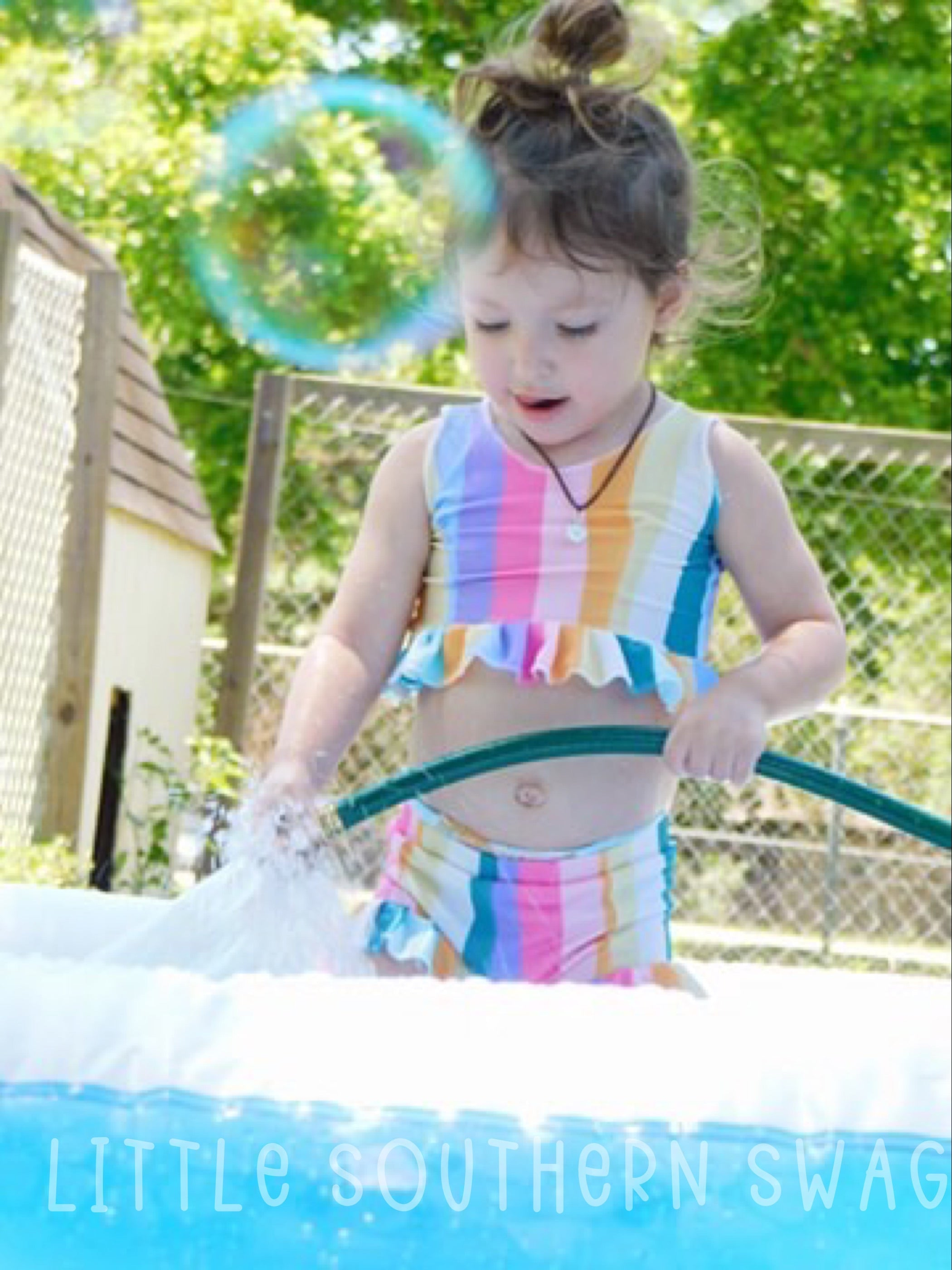 Summer Rainbow Swim Ruffle Top - Little Southern Swag
