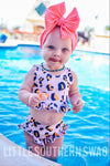Sunny Leopard Swim Ruffle Top - Little Southern Swag