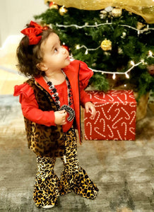 Red Lined Fleece Leopard Vest