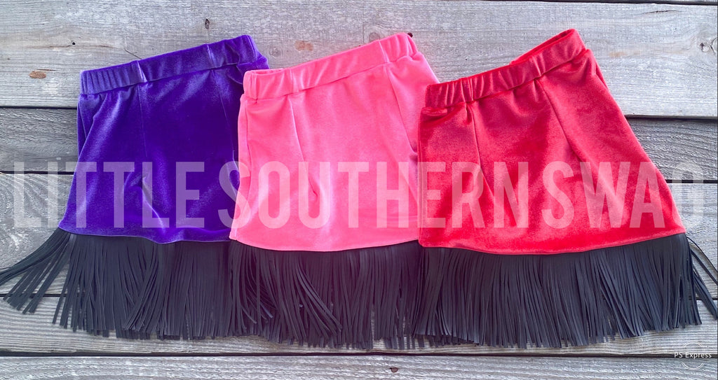 Kid's Velvet Fringe Skirt