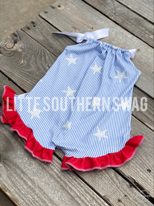 Star & Stripes Limited Ruffled Romper - Little Southern Swag