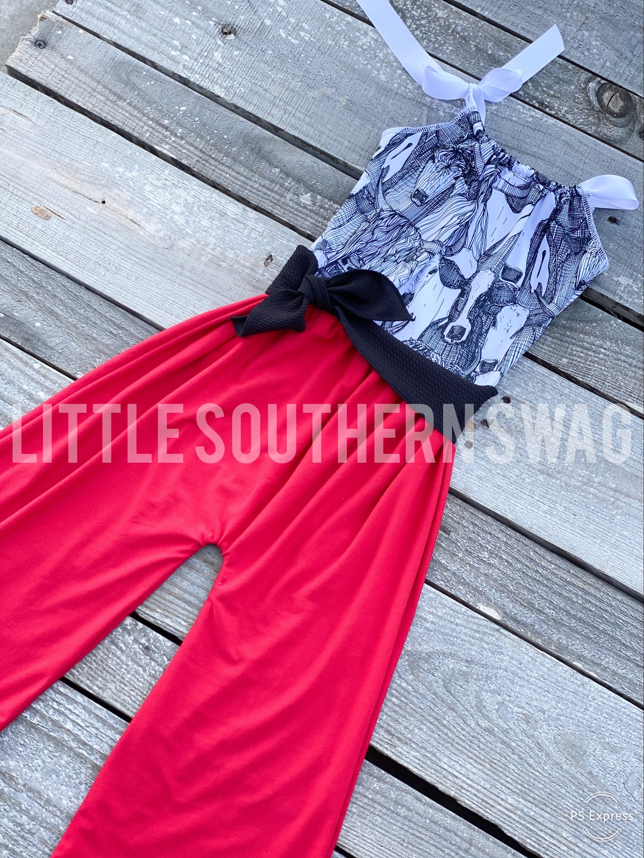 Cow Montage Belted Romper - Little Southern Swag