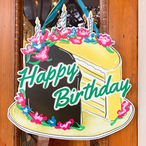 Happy Birthday Doberge Cake Door Hanger