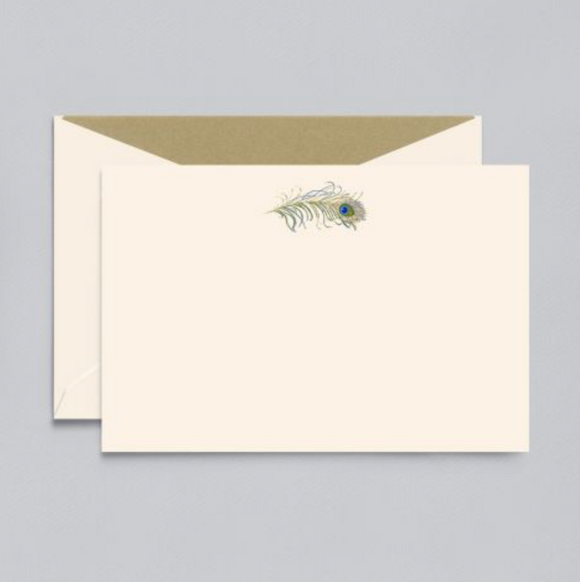 Crane Engraved Peacock Feather Correspondence Card