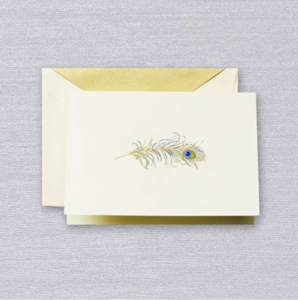 Crane Engraved Peacock Feather Notes