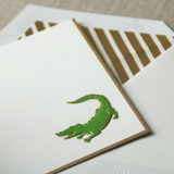 Crane Bordered Engraved Alligator Notes