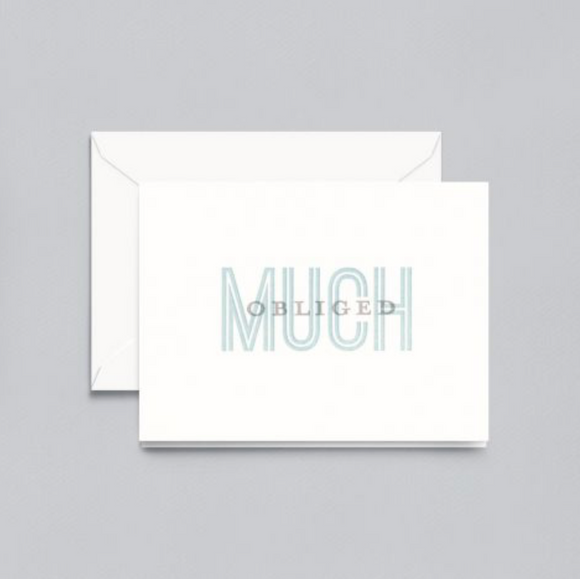 Crane Letterpress Much Obliged Thank You Notes