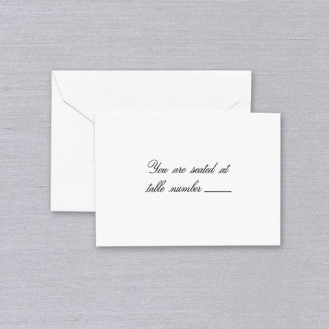 Script Text White Table Card
