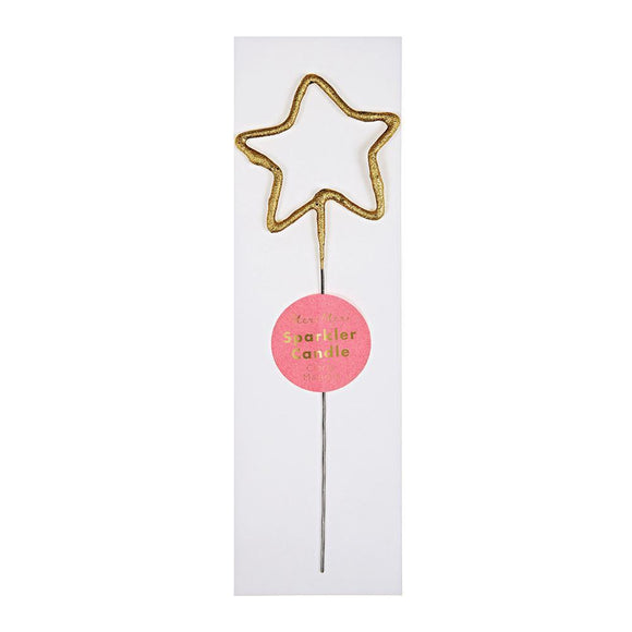 Gold Sparkler Star and Heart Candle