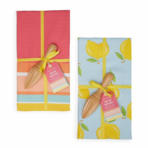Dish Towel with Citrus Reamer: Lemon or Stripe Design