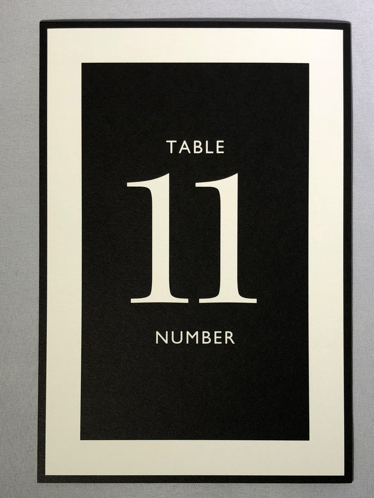 Black and White Studio Tented Table Numbers 11-20