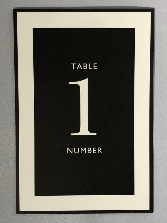 Black and White Studio Tented Table Numbers 1-10