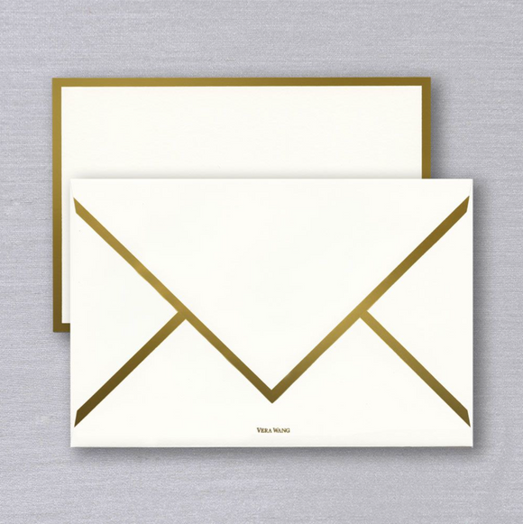 Vera Wang Gold Bordered Card and Envelope