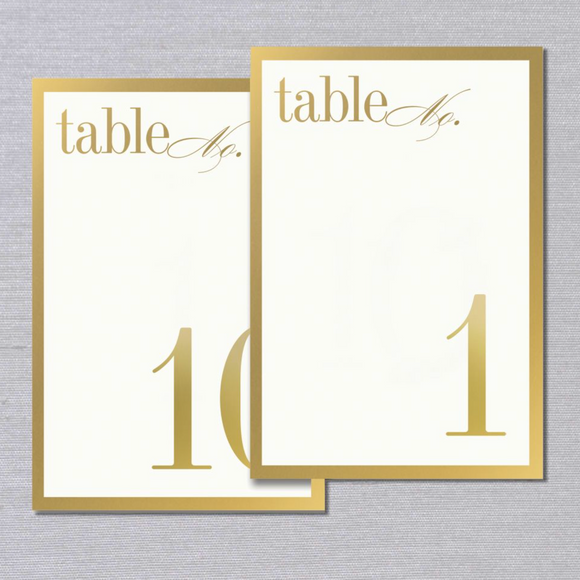 Vera Wang Gold Bordered Tented Table Numbers