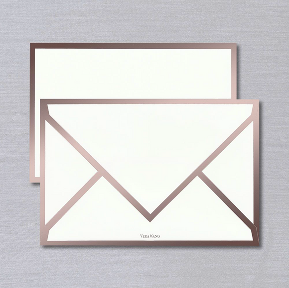Vera Wang Rose Gold Bordered Card and Envelope