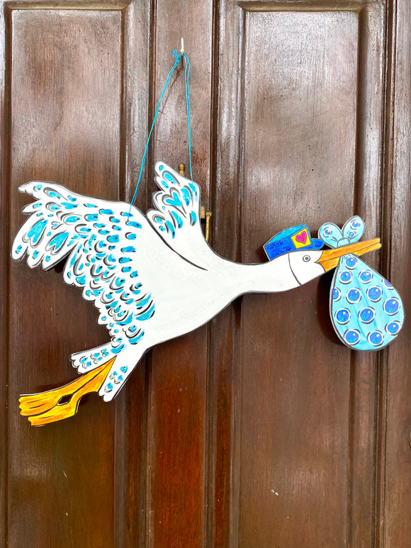 Blue Stork Door Hanger