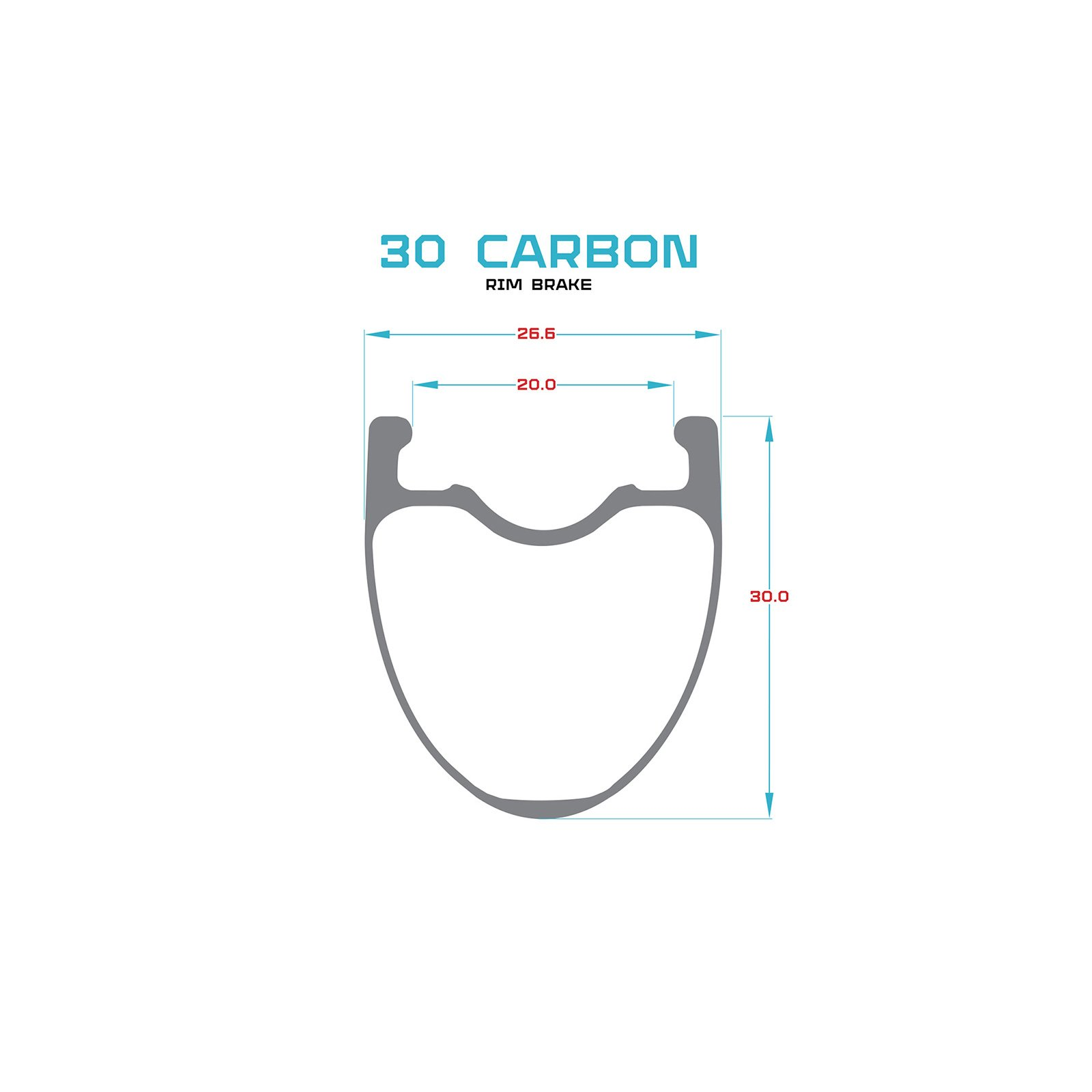 Carbon 30mm rear rim clincher 24h 700c