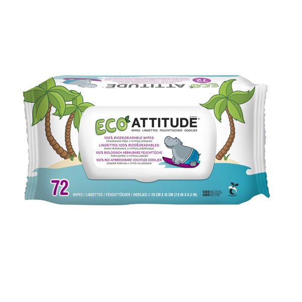 Attitude-100% Biodégradables Eco Baby Wipes
