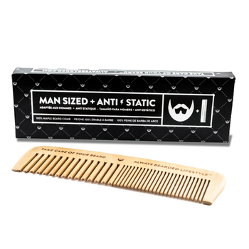 Anti-Static Maple Beard Comb - Camomile Beauty - Green Natural Cruelty-free Beauty Shop